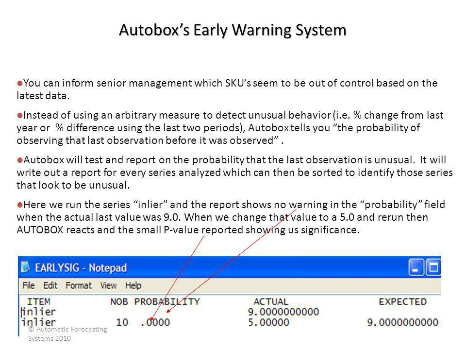 Autobox's Early Warning System