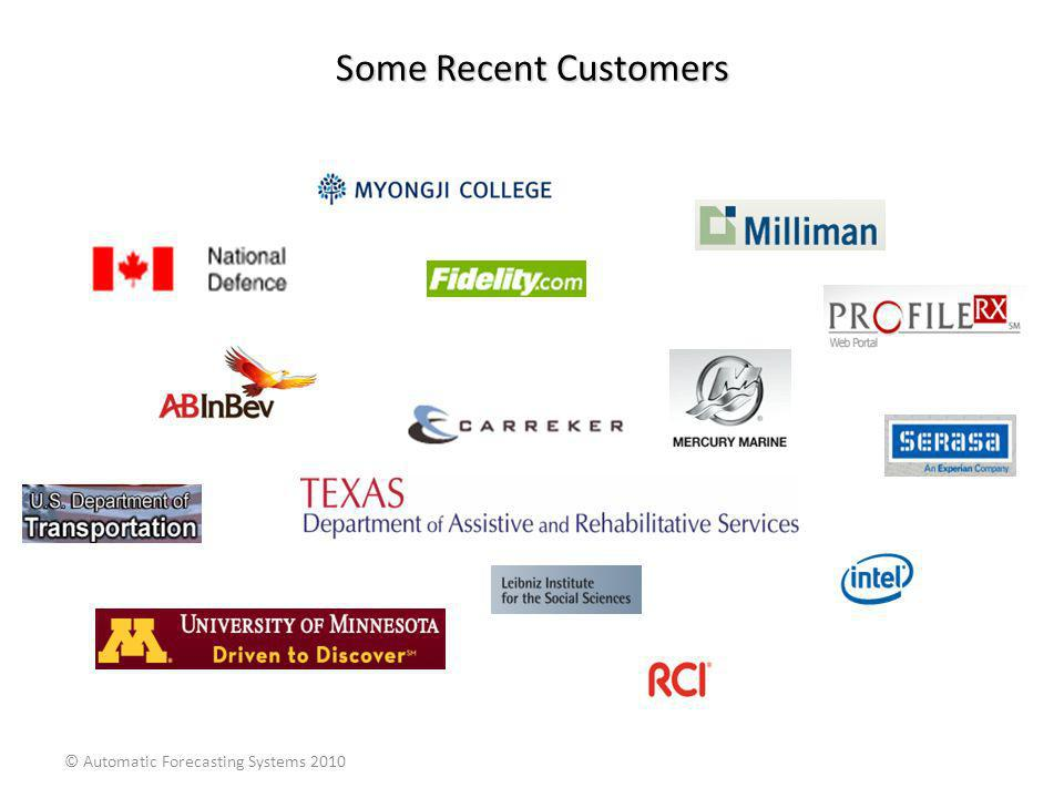 Some Recent Customers © Automatic Forecasting Systems 2010