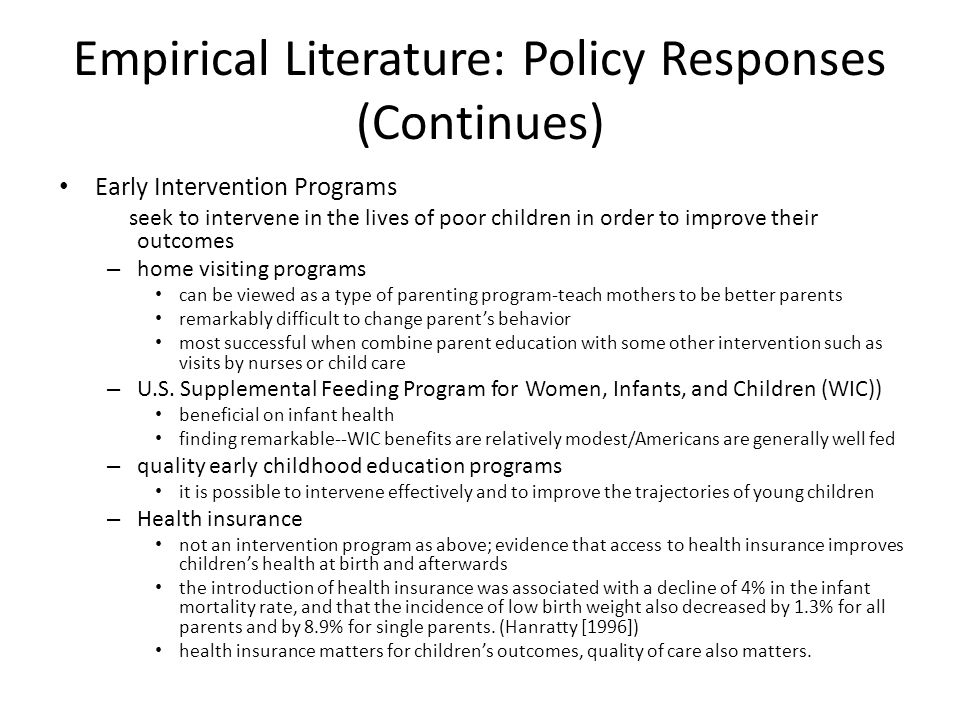 Empirical Literature: Policy Responses (Continues)