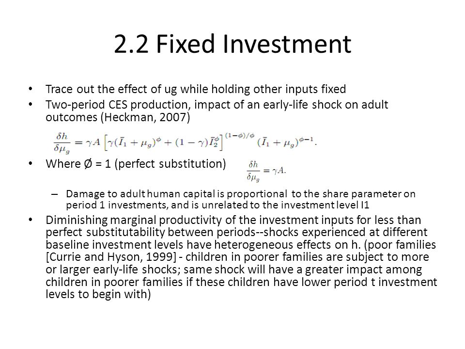 2.2 Fixed Investment Trace out the effect of ug while holding other inputs fixed.