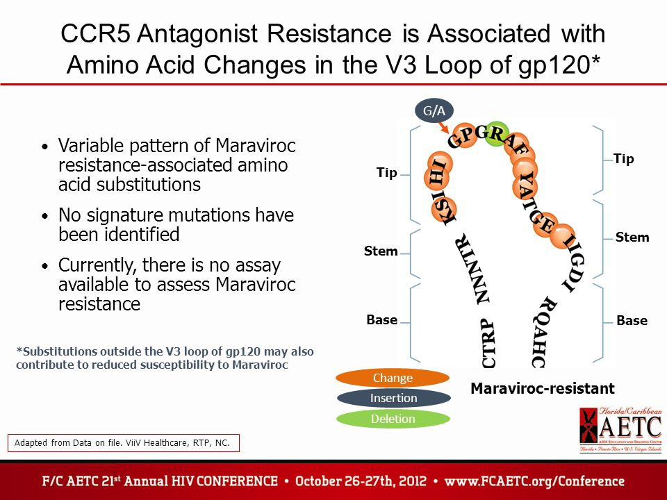 CCR5 Antagonist Resistance is Associated with Amino Acid Changes in the V3 Loop of gp120*