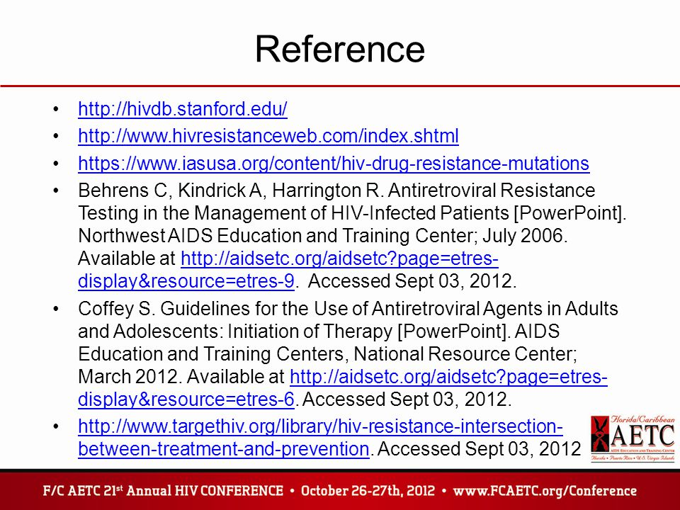 Reference http://hivdb.stanford.edu/