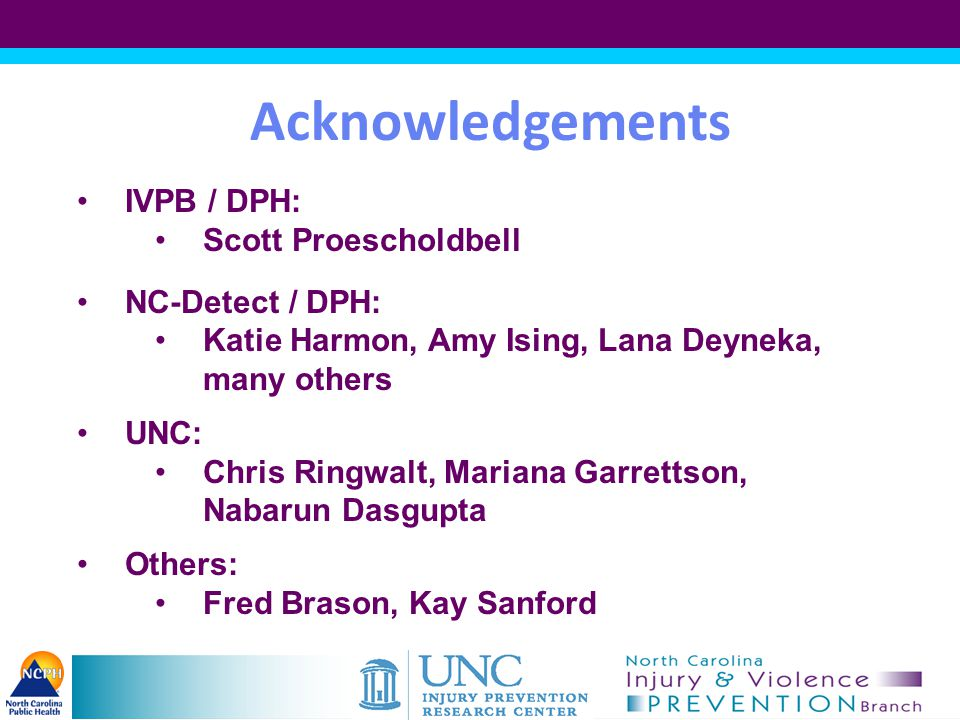 Acknowledgements IVPB / DPH: Scott Proescholdbell NC-Detect / DPH: