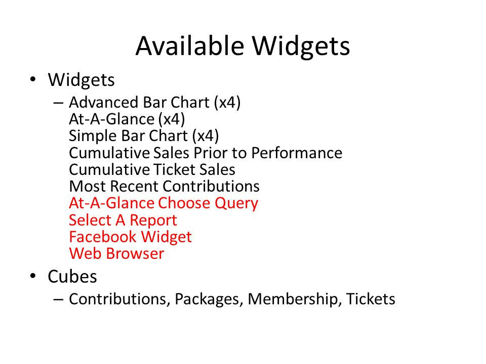 Available Widgets Widgets Cubes