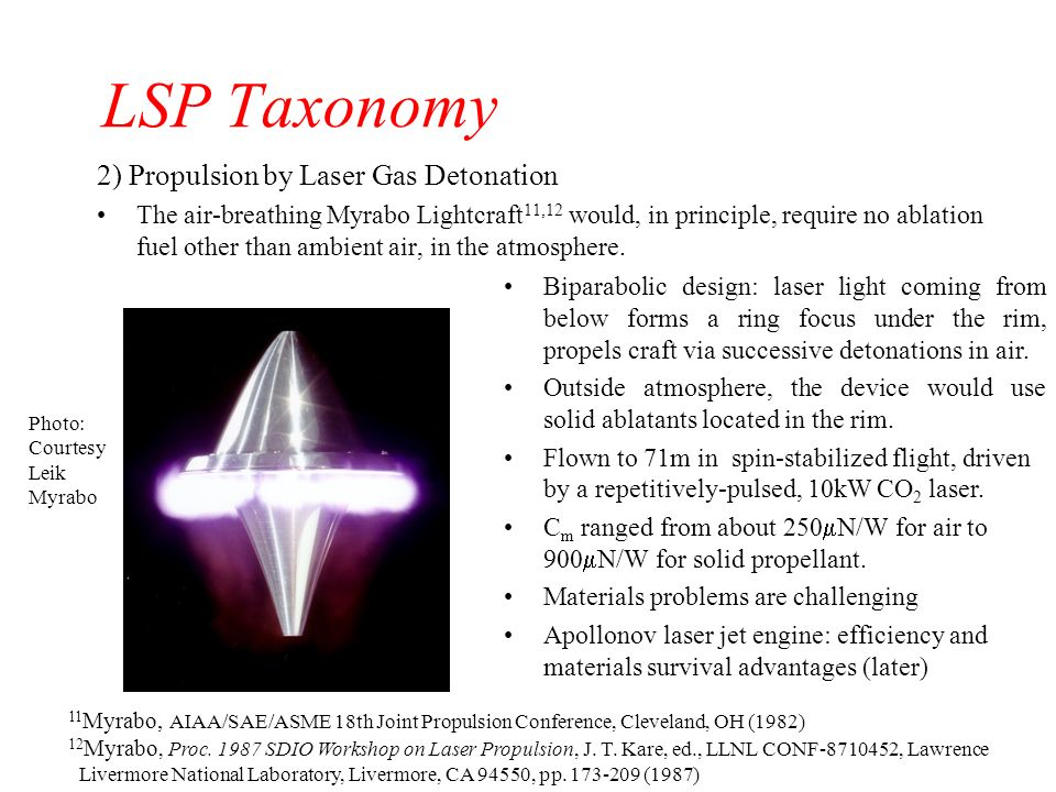 LSP Taxonomy 2) Propulsion by Laser Gas Detonation