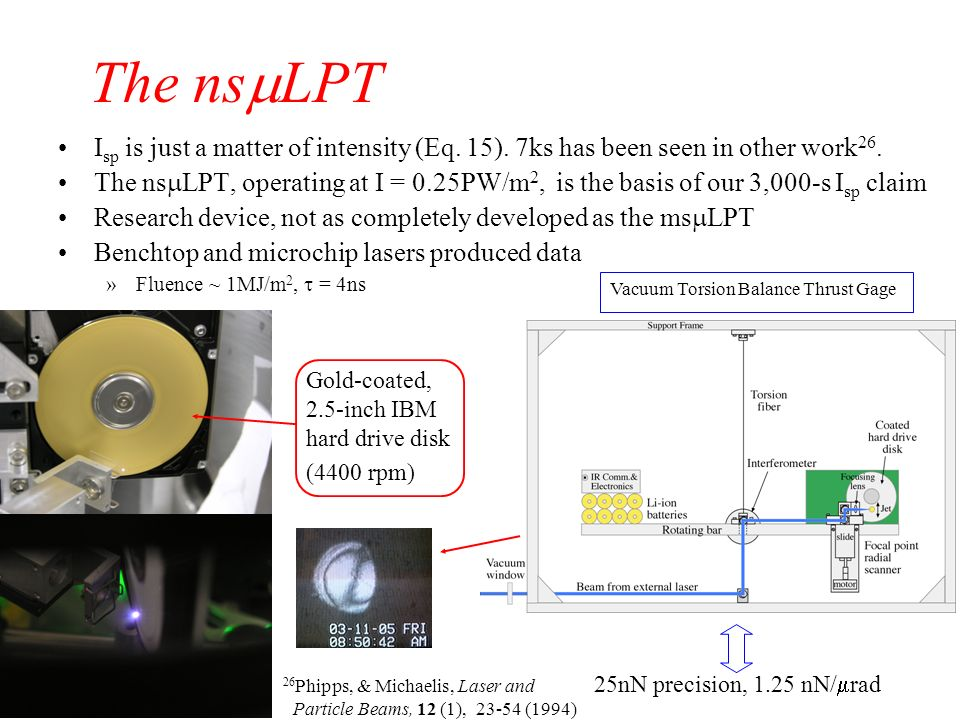 The nsmLPT Isp is just a matter of intensity (Eq. 15). 7ks has been seen in other work26.