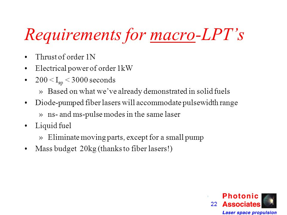 Requirements for macro-LPT's