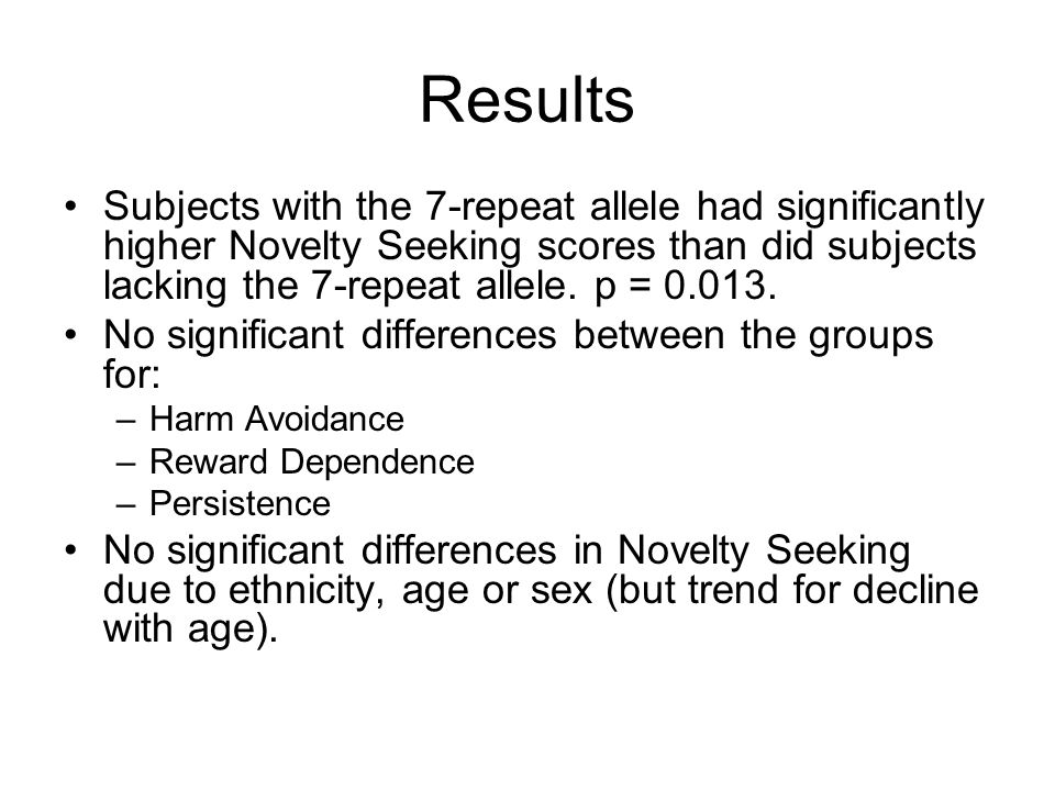 Results Subjects with the 7-repeat allele had significantly higher Novelty Seeking scores than did subjects lacking the 7-repeat allele. p = 0.013.