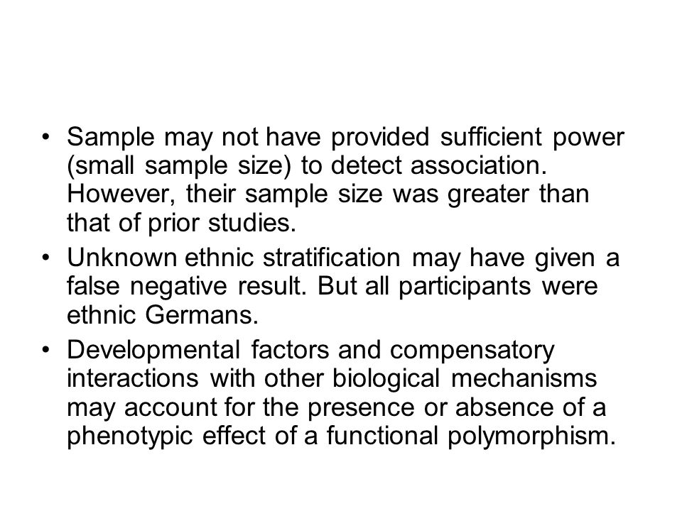 Sample may not have provided sufficient power (small sample size) to detect association. However, their sample size was greater than that of prior studies.