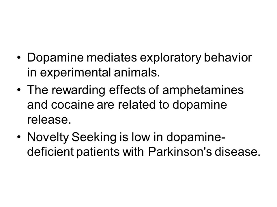 Dopamine mediates exploratory behavior in experimental animals.