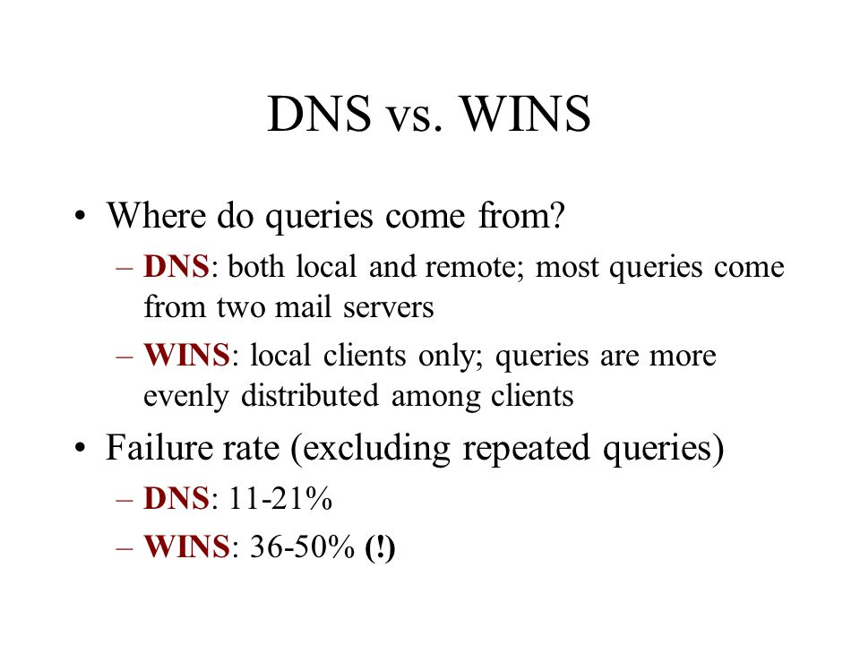 DNS vs. WINS Where do queries come from