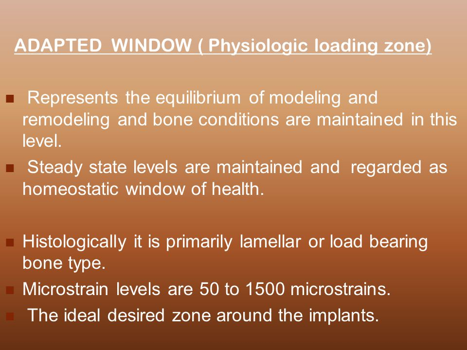 ADAPTED WINDOW ( Physiologic loading zone)