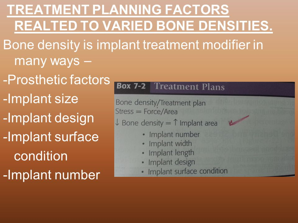 TREATMENT PLANNING FACTORS REALTED TO VARIED BONE DENSITIES.