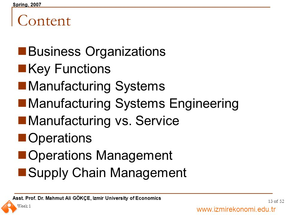 Content Business Organizations Key Functions Manufacturing Systems