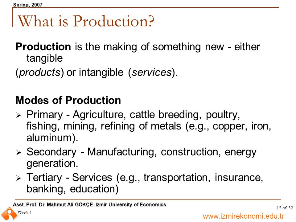 What is Production Production is the making of something new - either tangible. (products) or intangible (services).