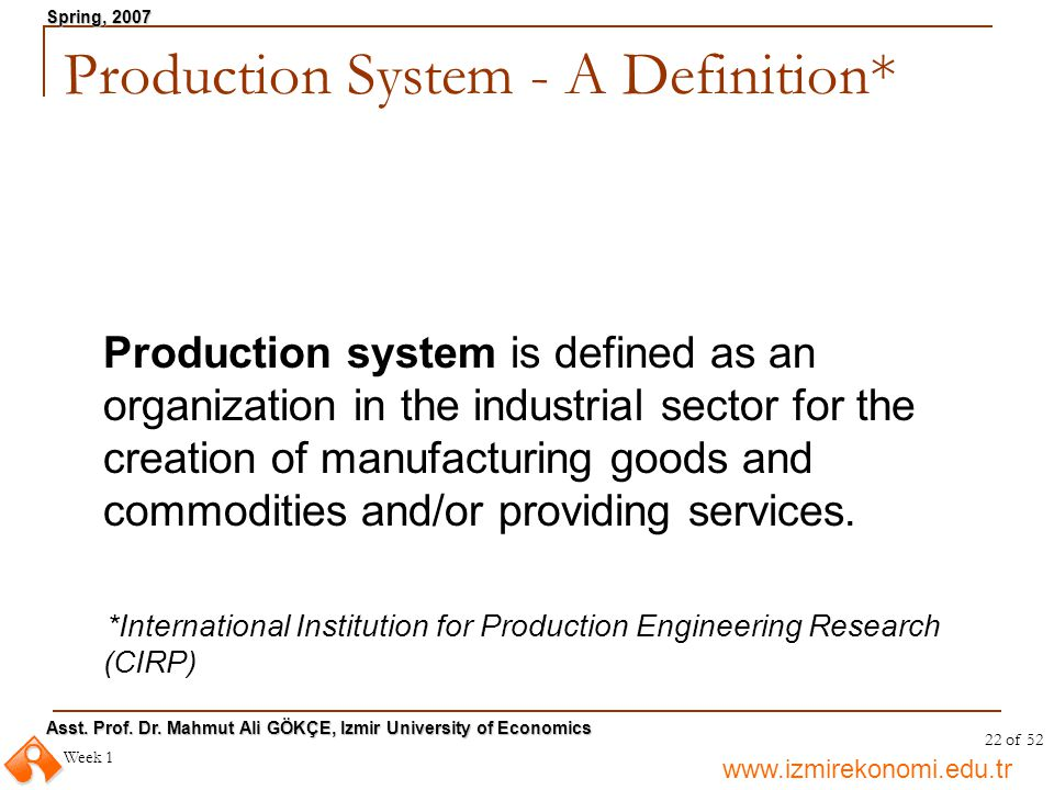 Production System - A Definition*