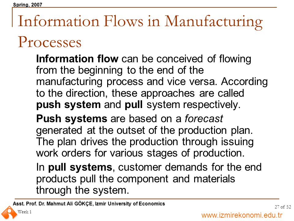 Information Flows in Manufacturing Processes