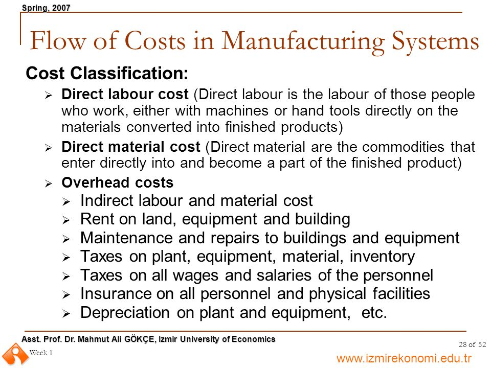 Flow of Costs in Manufacturing Systems