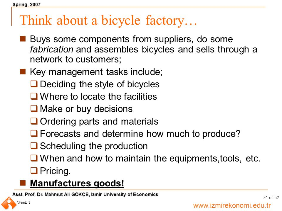 Think about a bicycle factory…
