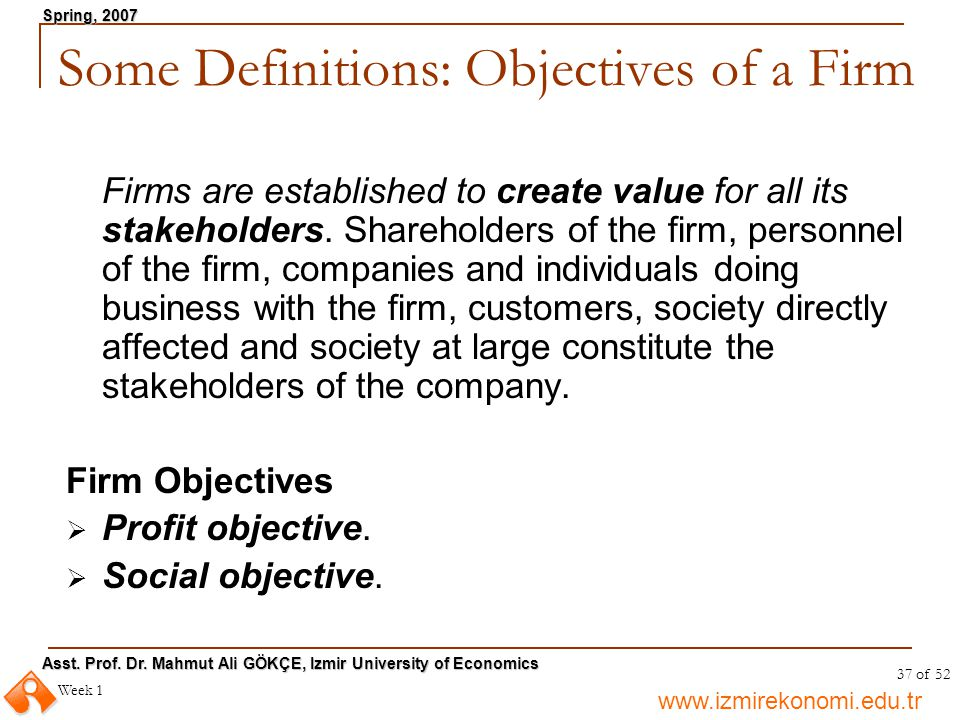 Some Definitions: Objectives of a Firm