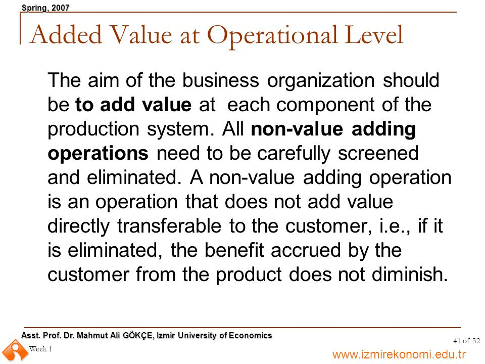 Added Value at Operational Level