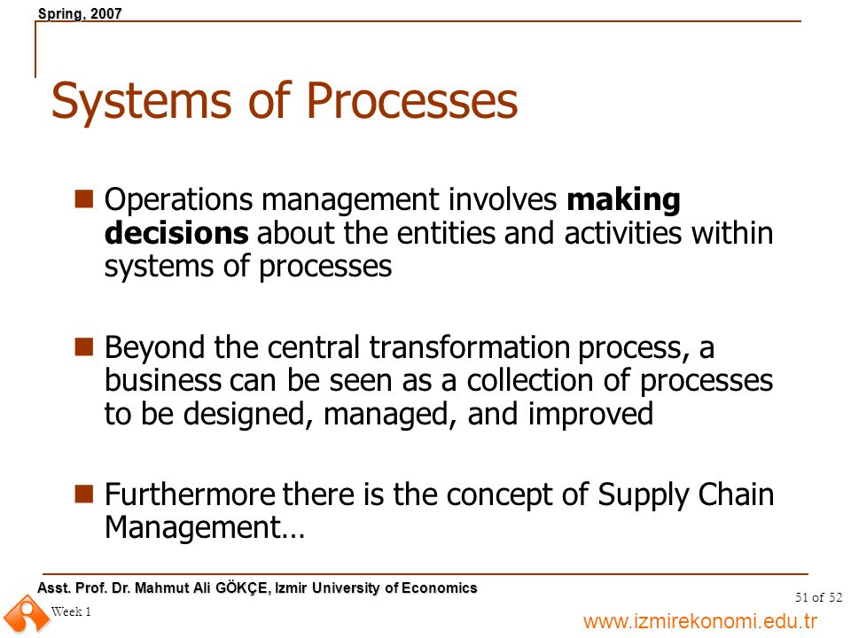 Systems of Processes Operations management involves making decisions about the entities and activities within systems of processes.