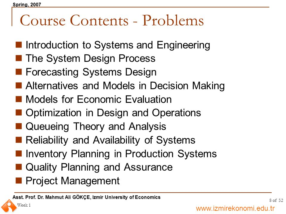 Course Contents - Problems