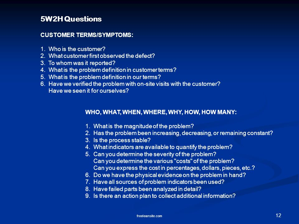 5W2H Questions CUSTOMER TERMS/SYMPTOMS: 1. Who is the customer