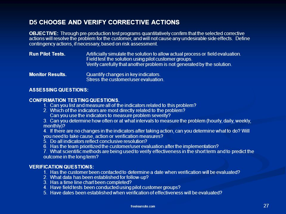 D5 CHOOSE AND VERIFY CORRECTIVE ACTIONS