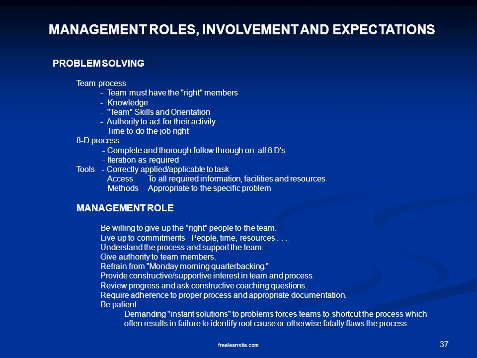 MANAGEMENT ROLES, INVOLVEMENT AND EXPECTATIONS