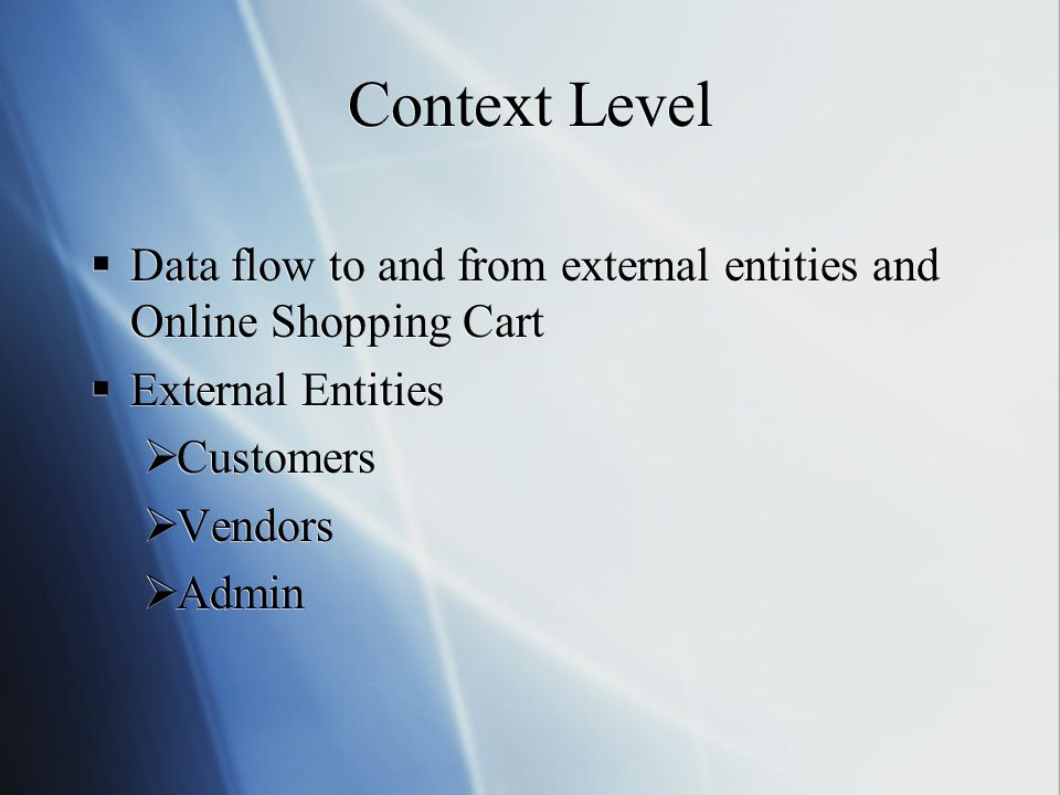 Context Level Data flow to and from external entities and Online Shopping Cart. External Entities.