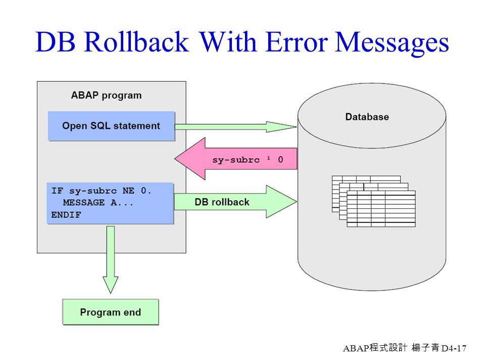 DB Rollback With Error Messages
