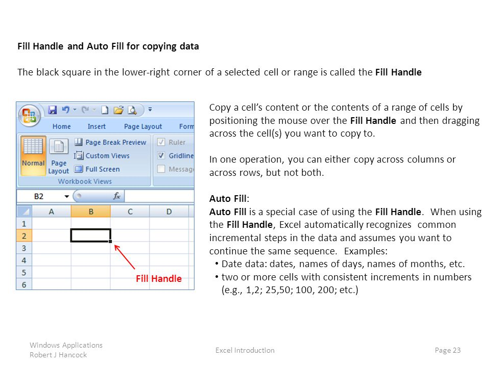Fill Handle and Auto Fill for copying data