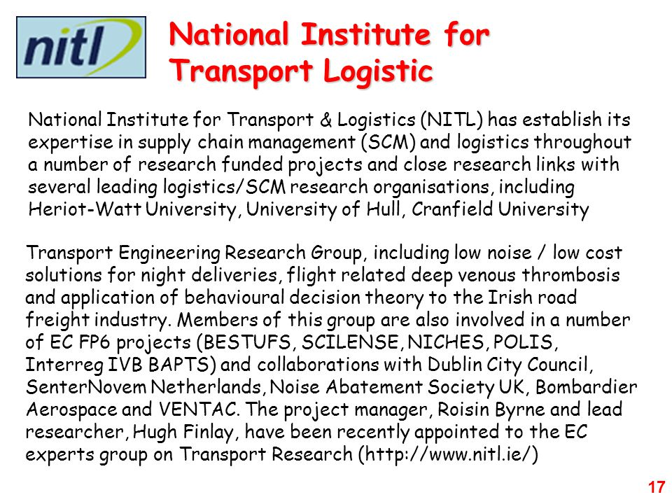 National Institute for Transport Logistic