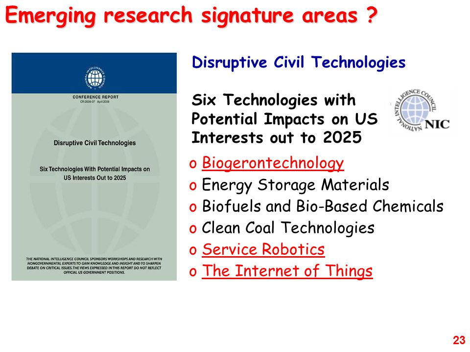 Emerging research signature areas