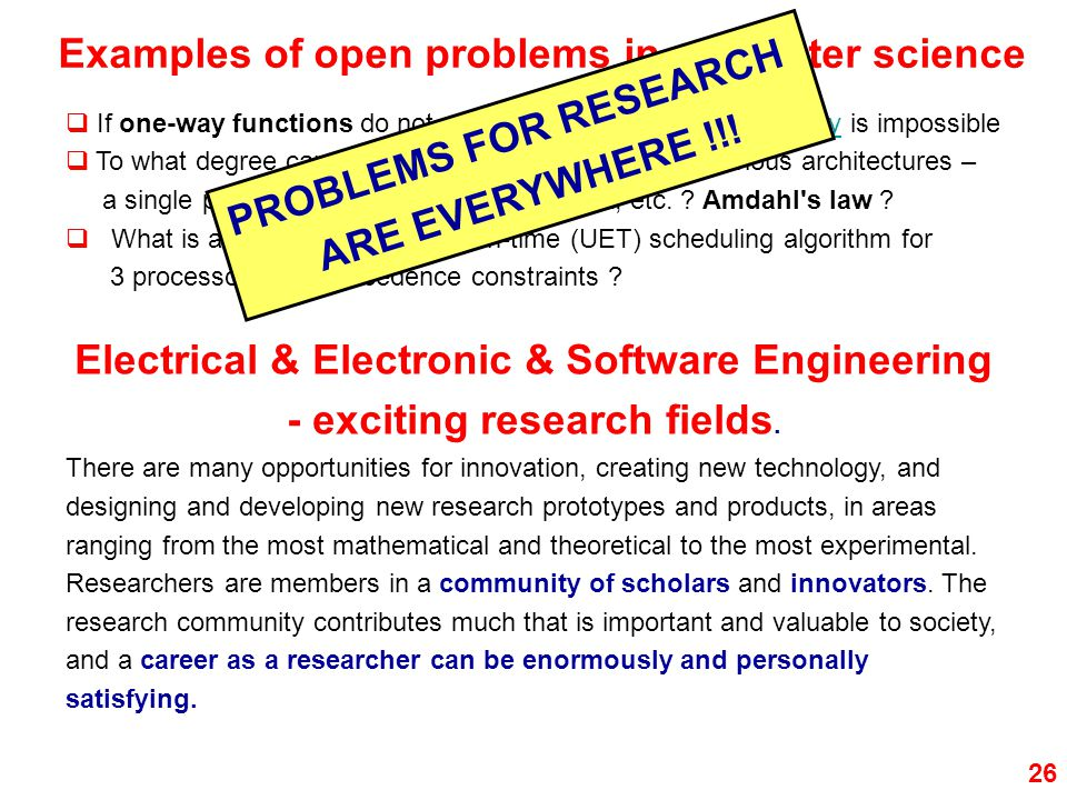 PROBLEMS FOR RESEARCH ARE EVERYWHERE !!!