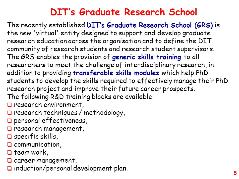 DIT's Graduate Research School
