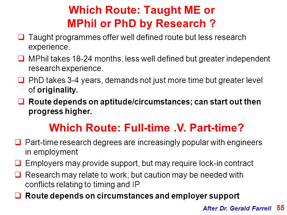 Which Route: Taught ME or MPhil or PhD by Research