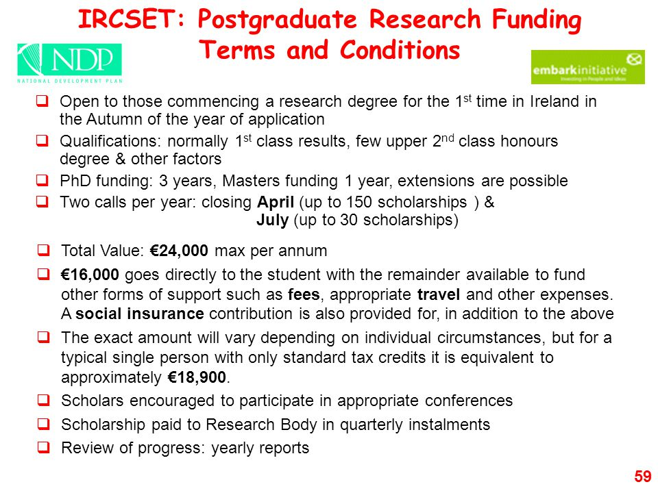 IRCSET: Postgraduate Research Funding Terms and Conditions