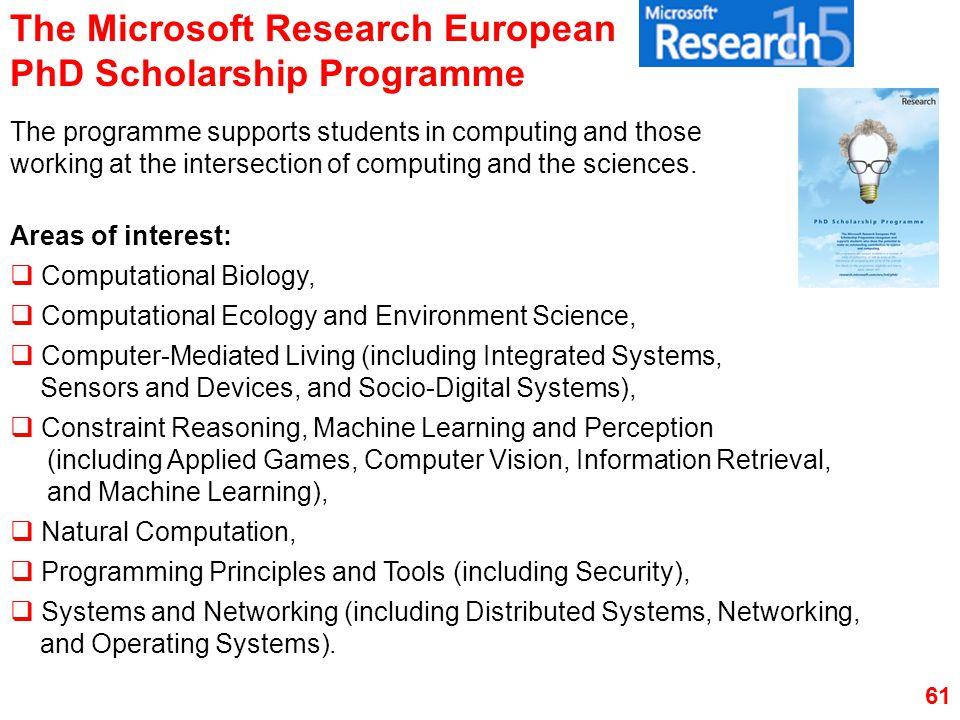The Microsoft Research European PhD Scholarship Programme
