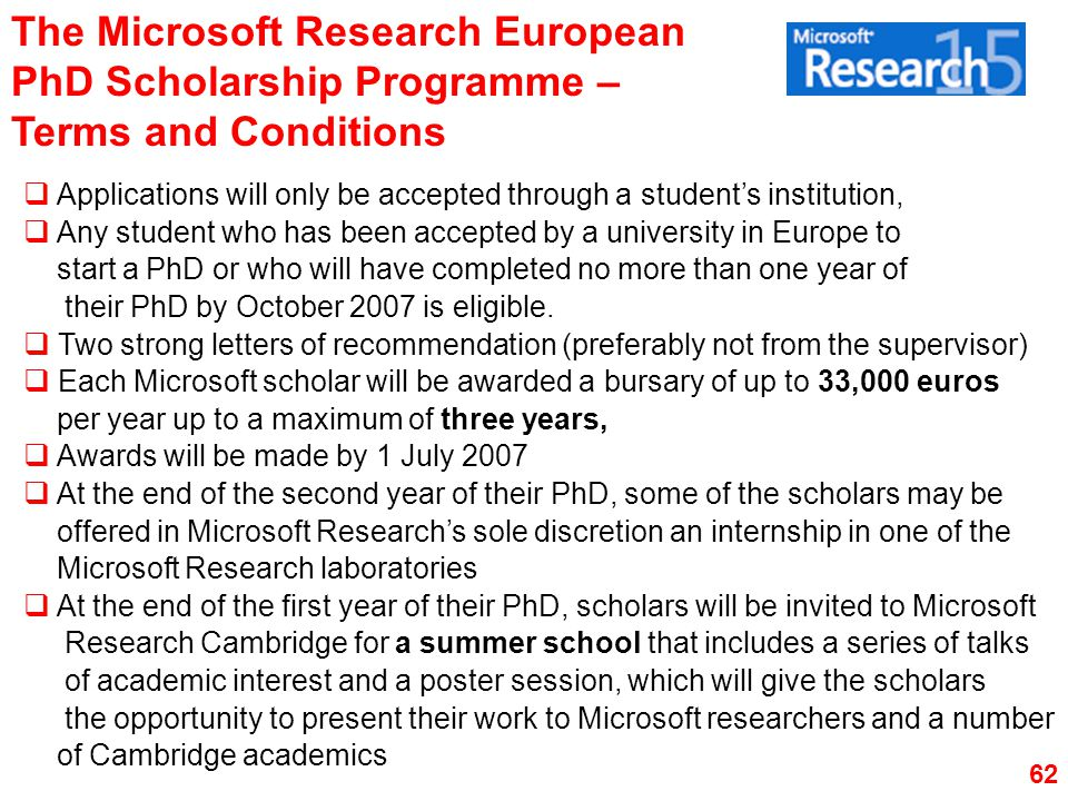 The Microsoft Research European PhD Scholarship Programme – Terms and Conditions