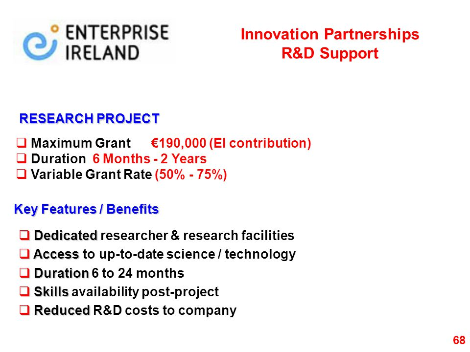 Innovation Partnerships R&D Support