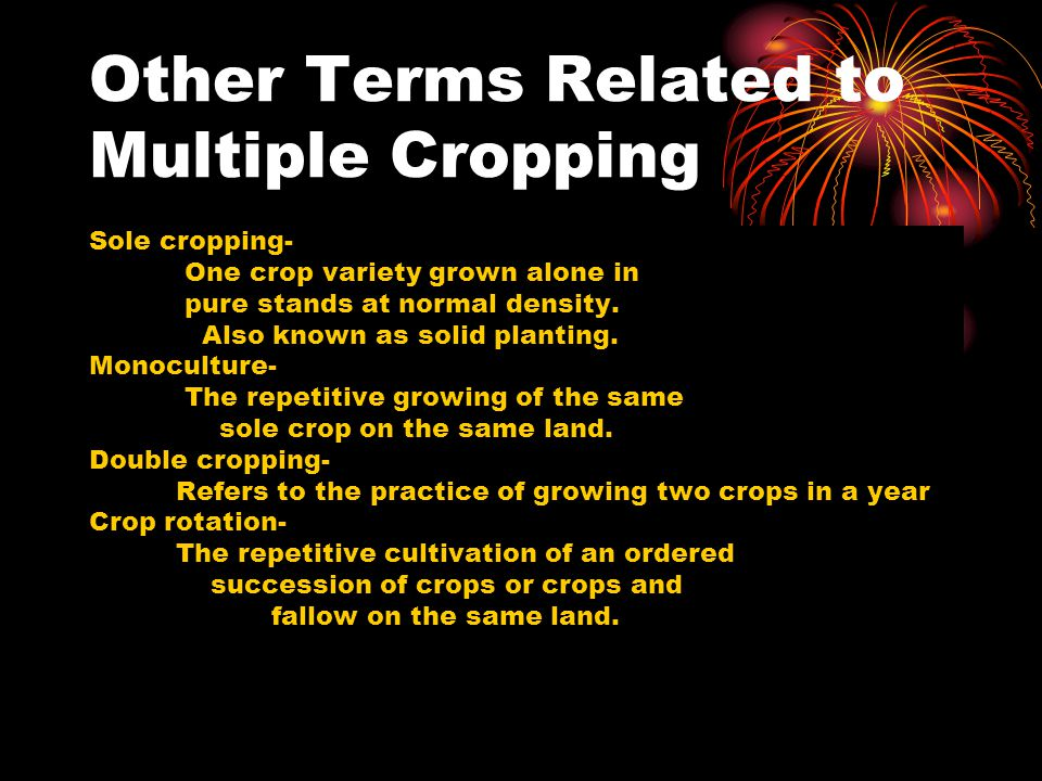 Other Terms Related to Multiple Cropping