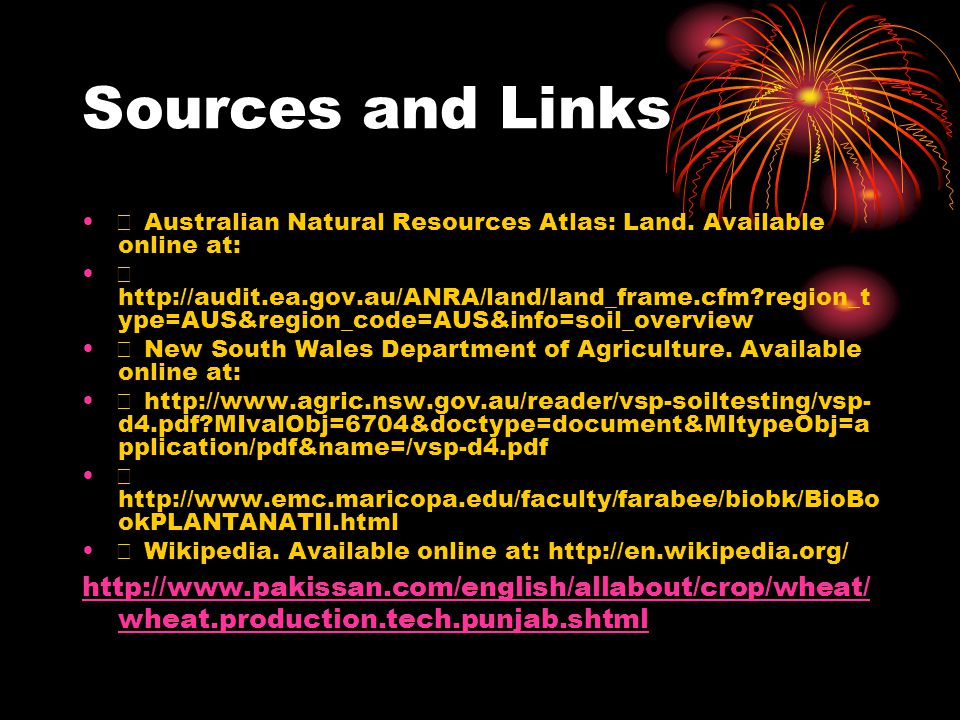 Sources and Links  Australian Natural Resources Atlas: Land. Available online at: