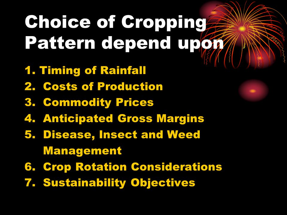 Choice of Cropping Pattern depend upon