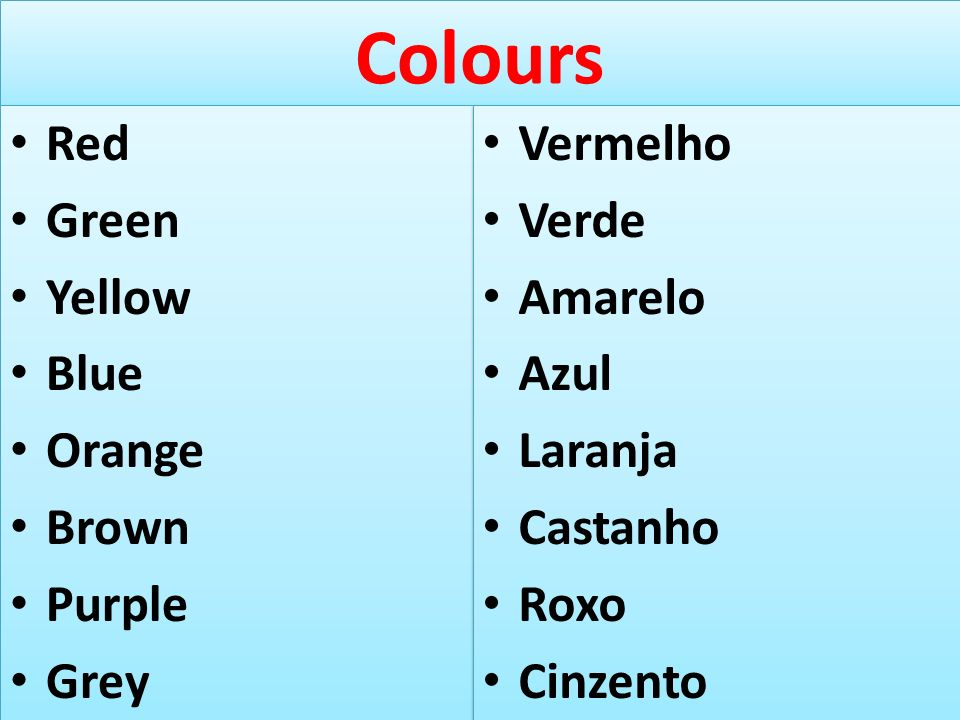 Colours Red Green Yellow Blue Orange Brown Purple Grey Vermelho Verde