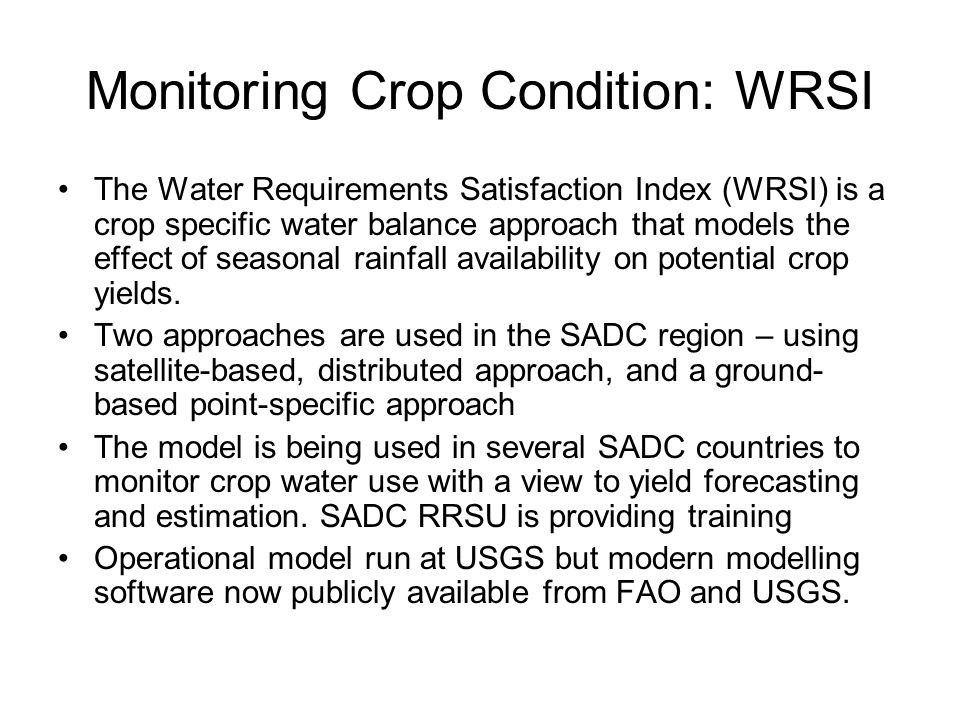 Monitoring Crop Condition: WRSI
