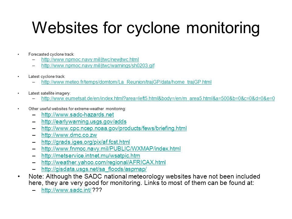 Websites for cyclone monitoring