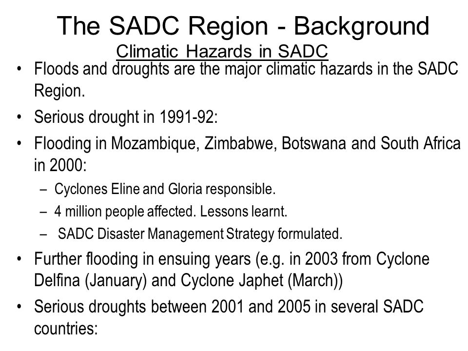 Climatic Hazards in SADC