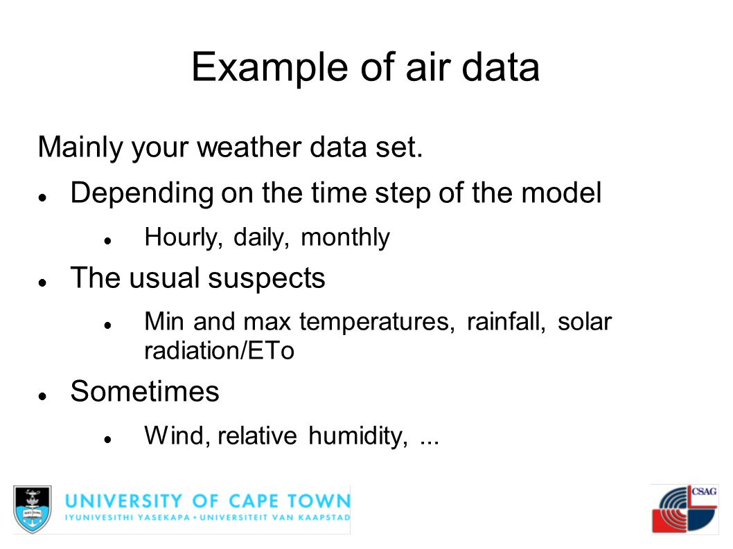 Example of air data Mainly your weather data set.